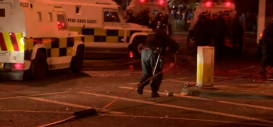 Water cannons and baton rounds were used on the second night of violence. (BBC)