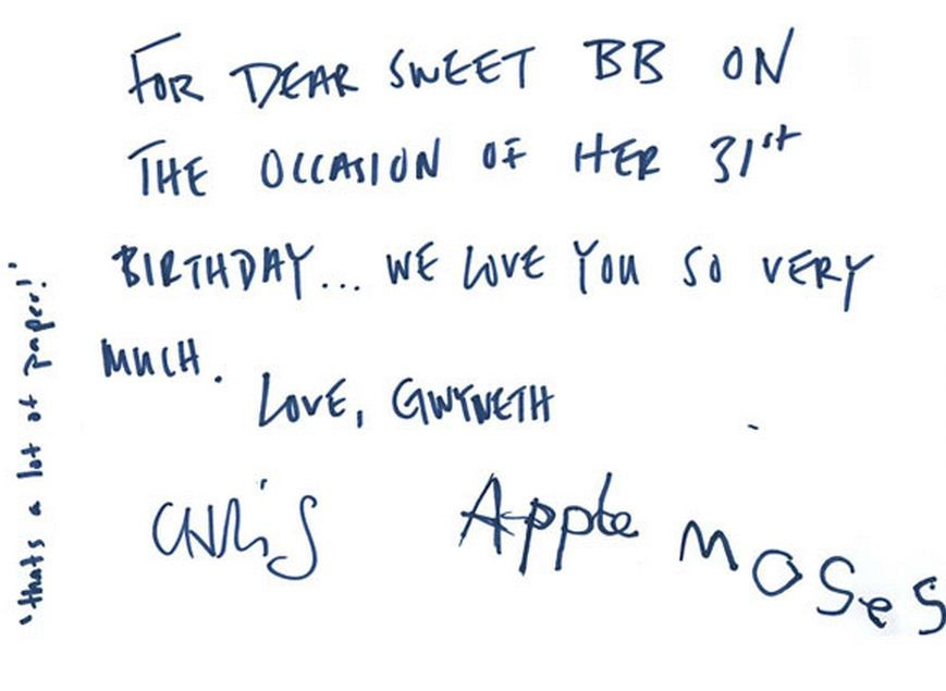 Gwyneth Paltrow and her family signed a special card which has been published on Beyonce's website