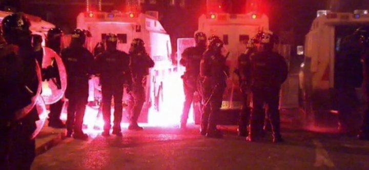 Fireworks were hurled at officers during third night of violence (UTV)