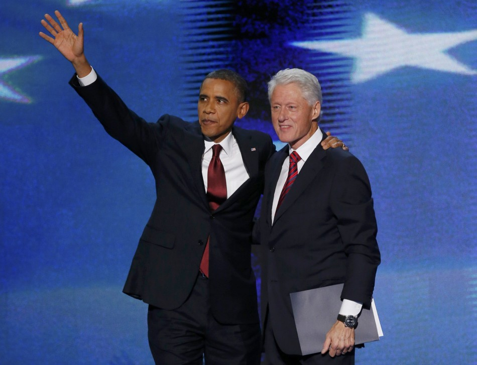 Barack Obama and Bill Clinton at Democratic National Convention 2012