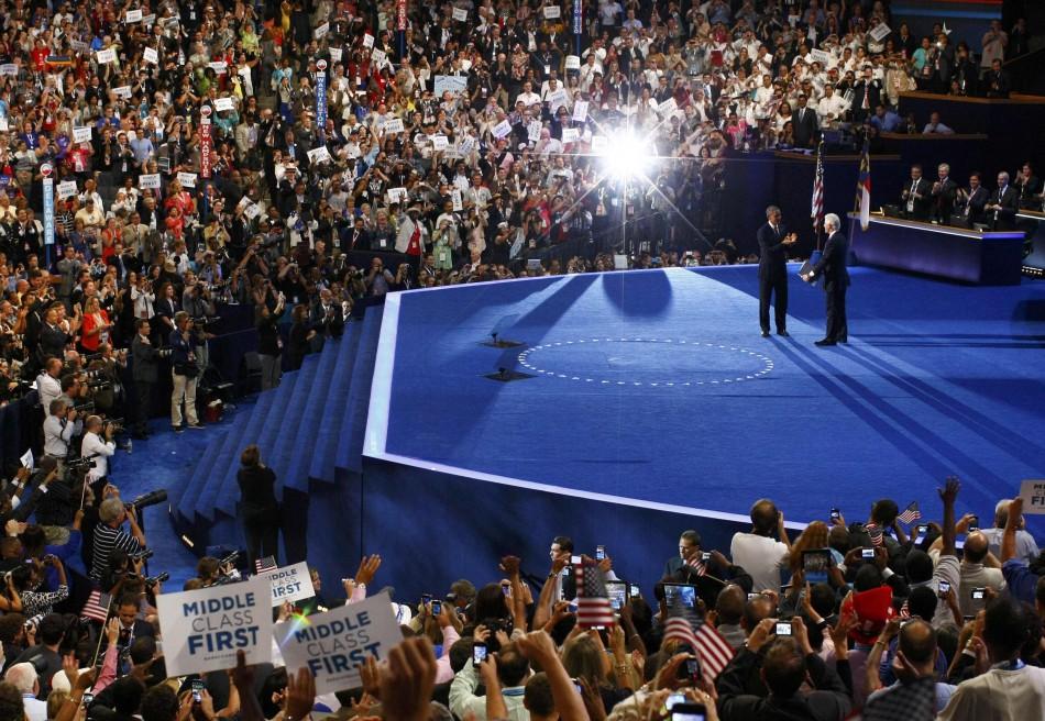 Barack Obama and Bill Clinton at Democratic National Convention 2012