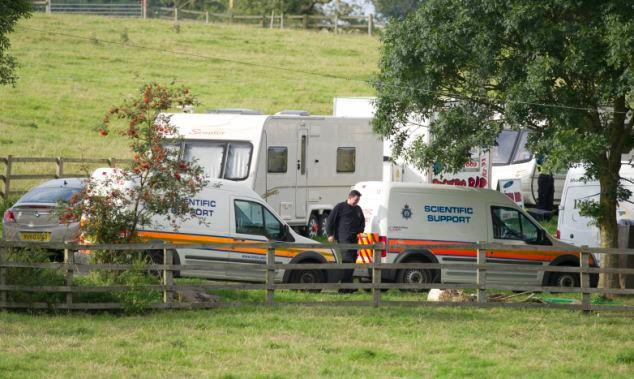 Police officers at the scene of the shooting near Melton Mowbray (Paul Tonge/Facebook)