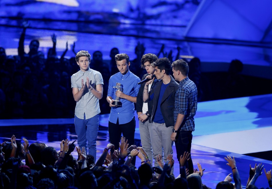 One Direction accept the award for best new artist during the 2012 MTV Video Music Awards in Los Angeles