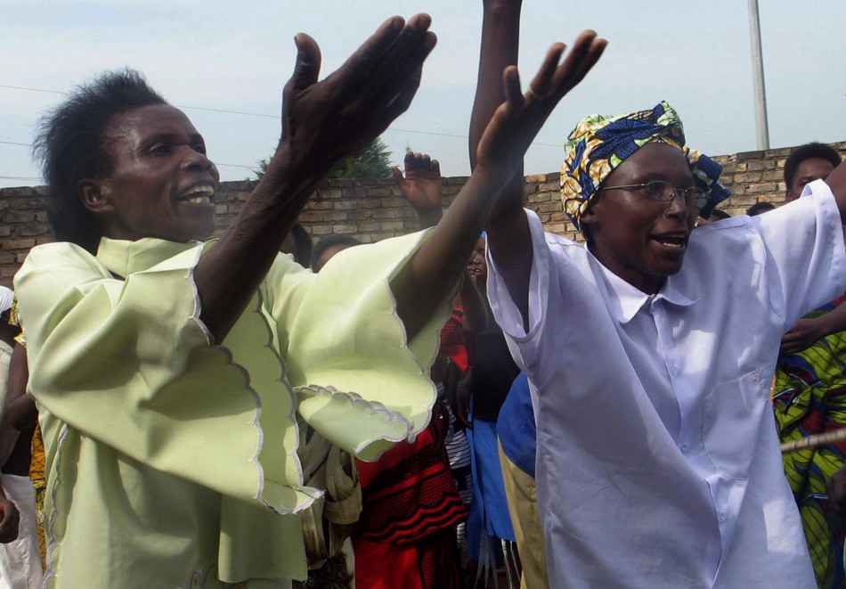 Ex-prostitutes sing and dance to religious songs in Muhanga district