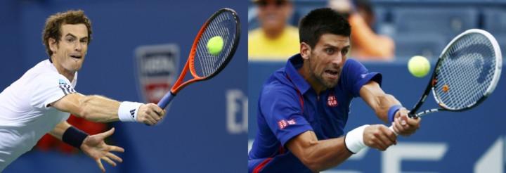 Andy Murray (L) and Novak Djokovic