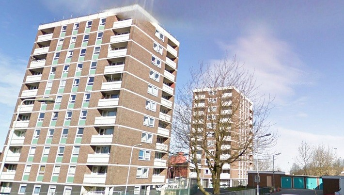 The injured baby was found at a refuse area in the Boscobel Crescent area of  Wolverhampton (streetview)