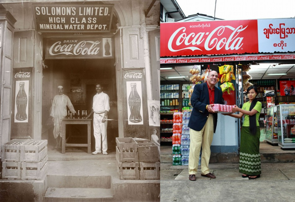 A Coca-Cola distribution point in Yangon in 1927 and in right: Muhtar Kent, Chairman and CEO of The Coca-Cola Company, delivers one of the first cases of Coca-Cola by the Company in over 60 years to local shop Chann Myae Thar in Yangon, Myanmar. (Photo: The Coca-Cola Company)