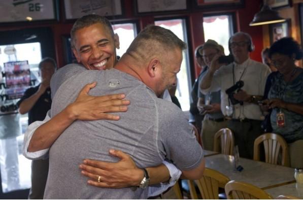 Obama gets bear hug