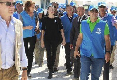Jolie arrives at the camp