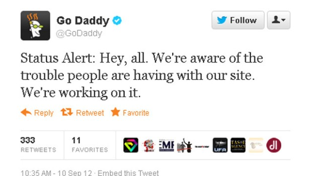 GoDaddy tweet