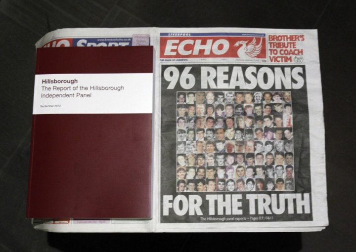 A copy of the report delivered by the Hillsborough Independent Panel is positioned next to a copy of today's Liverpool Echo (Reuters)
