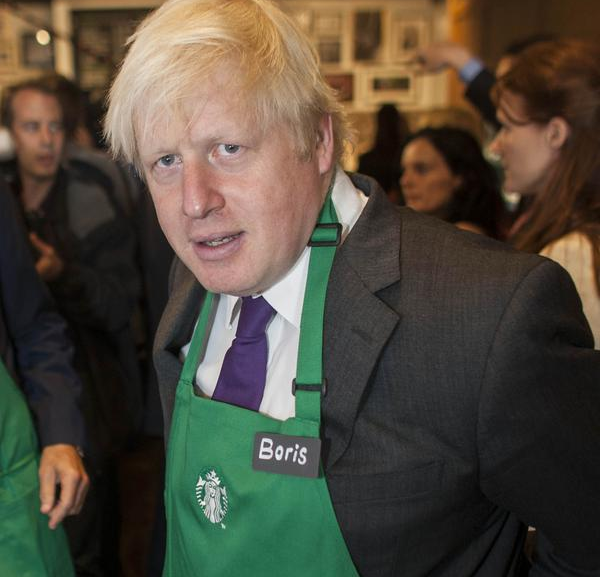 Extra froth?: Boris Johnson at Starbucks