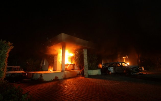 US consulate on fire in Benghazi