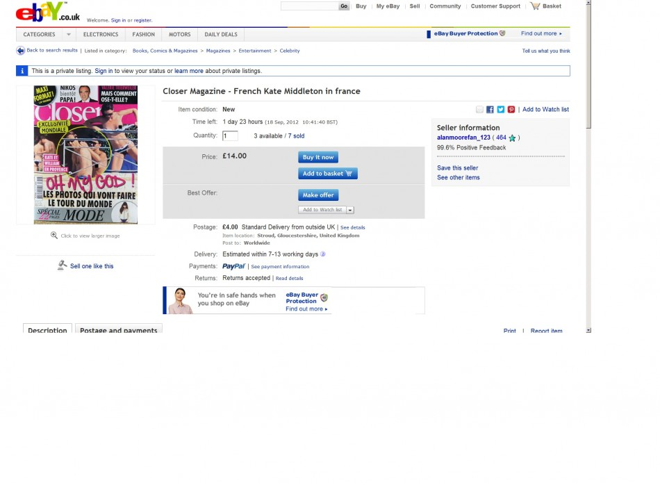 Screenshot of Closer magazine for sale