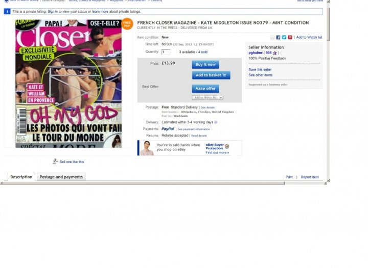 Screenshot of Closer magazine for sale