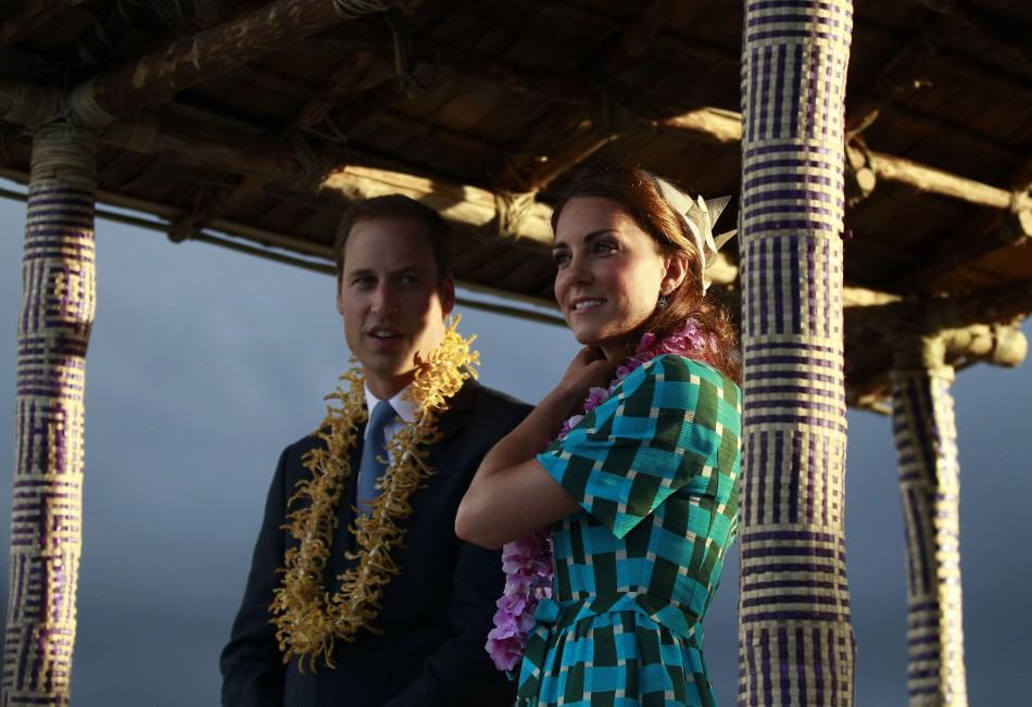 Britain's Prince William and Catherine, the Duchess of Cambridge, leave Honiara International Airport