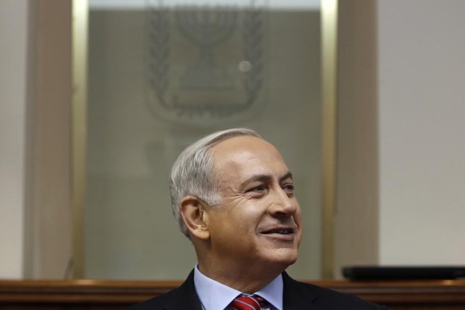 Israel's Prime Minister Benjamin Netanyahu attends the weekly cabinet meeting in Jerusalem