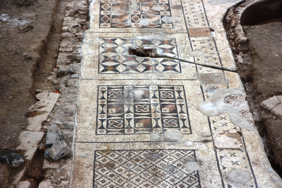 Geometric patterns and ornamentation, which  are quintessentially Roman in design, of a mosaic floor excavated in Turkey. (Photo: University of Nebraska-Lincoln)