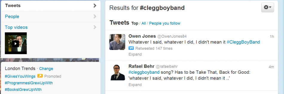 Clegg butt of Twitter jokes