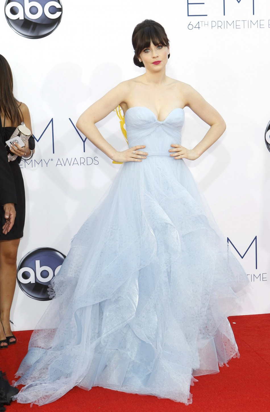 Actress Zooey Deschanel of the comedy series The New Girl arrives at the 64th Primetime Emmy Awards in Los Angeles