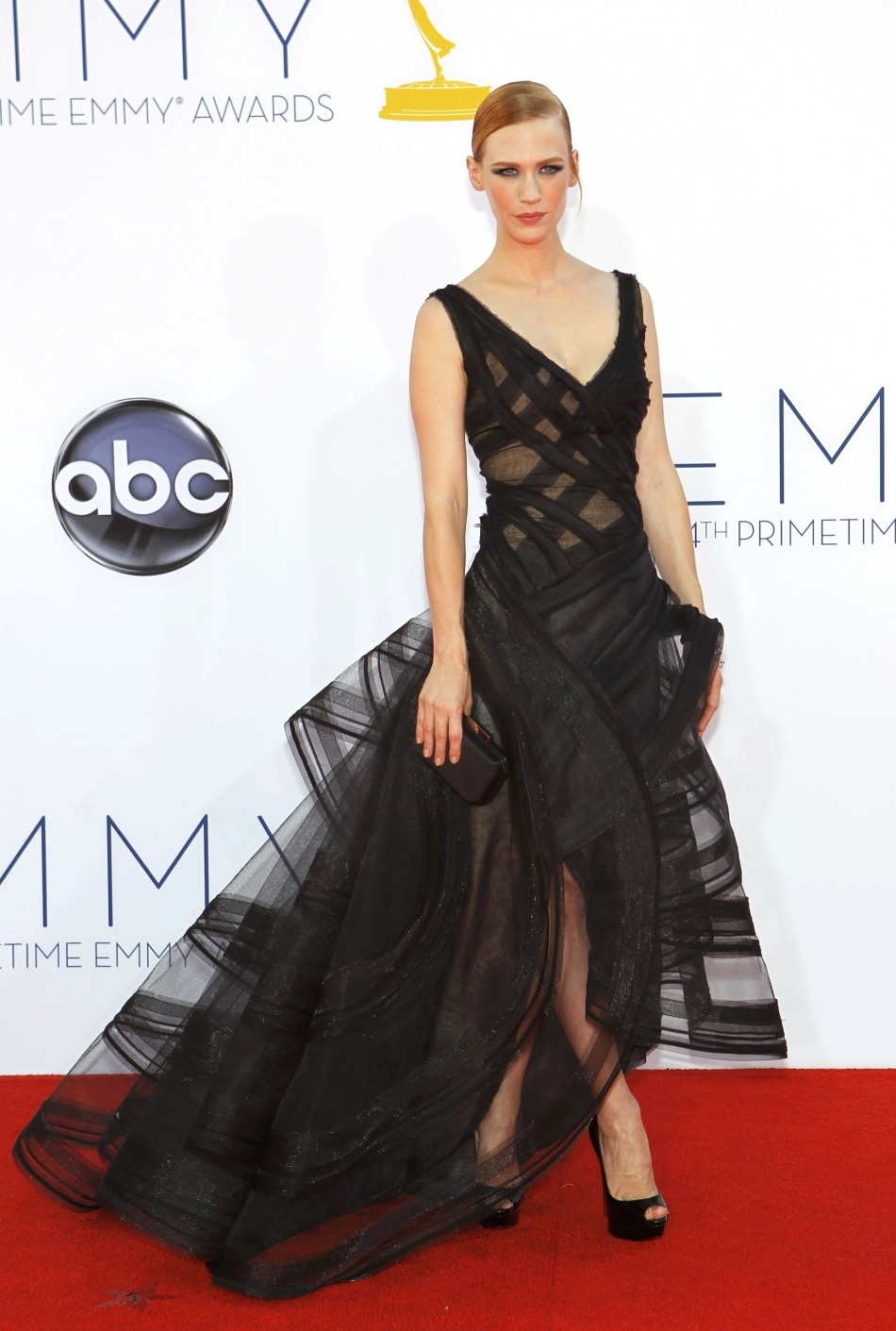 Actress January Jones, of the drama series Mad Men arrives at the 64th Primetime Emmy Awards in Los Angeles