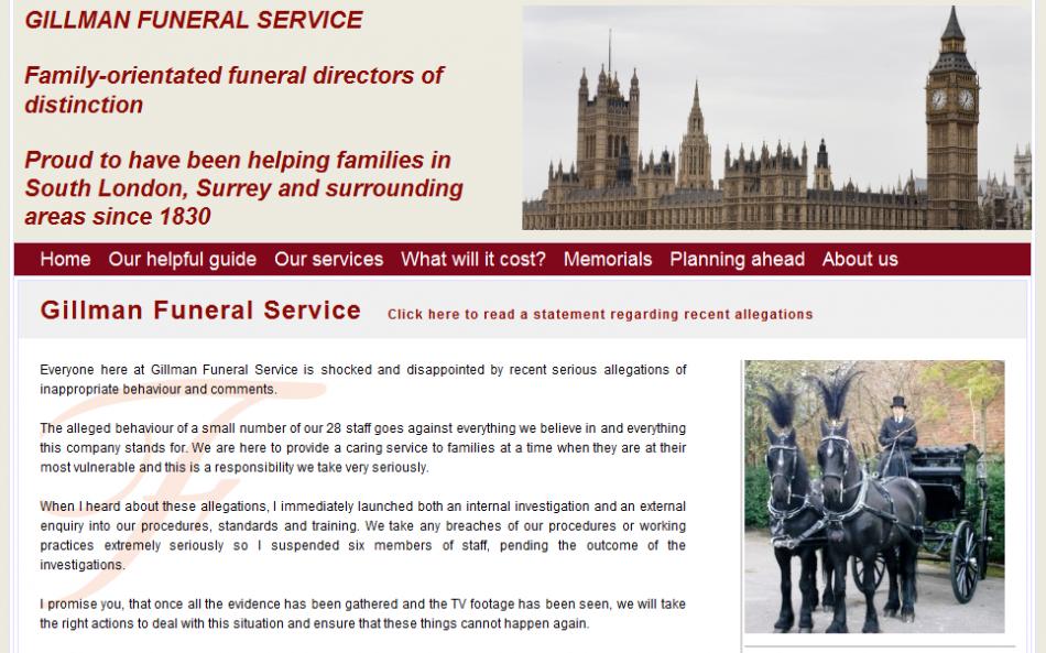 Gillman Funeral Service website