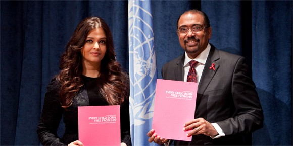 Aishwarya Rai Bachchan and UNAIDS Executive Director Michel Sidibé pictured during the 67th United Nations General Assembly in New York, 24 September, 2012. Bachchan has been appointed as the international goodwill ambassador for UNAIDS. (Photo: UNAIDS)