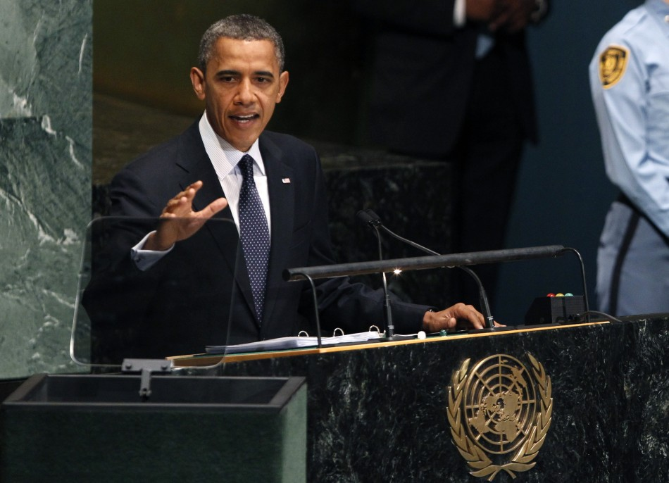 U.S. President Barack Obama addresses the 67th United Nations General Assembly at the U.N. headquarters in New York