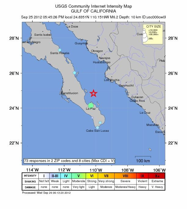 Location map of magnitude 6.2 earthquake that occurred off Mexican Coast (Credit: USGS)