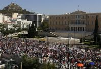 Athens 24-hour strike parliament building