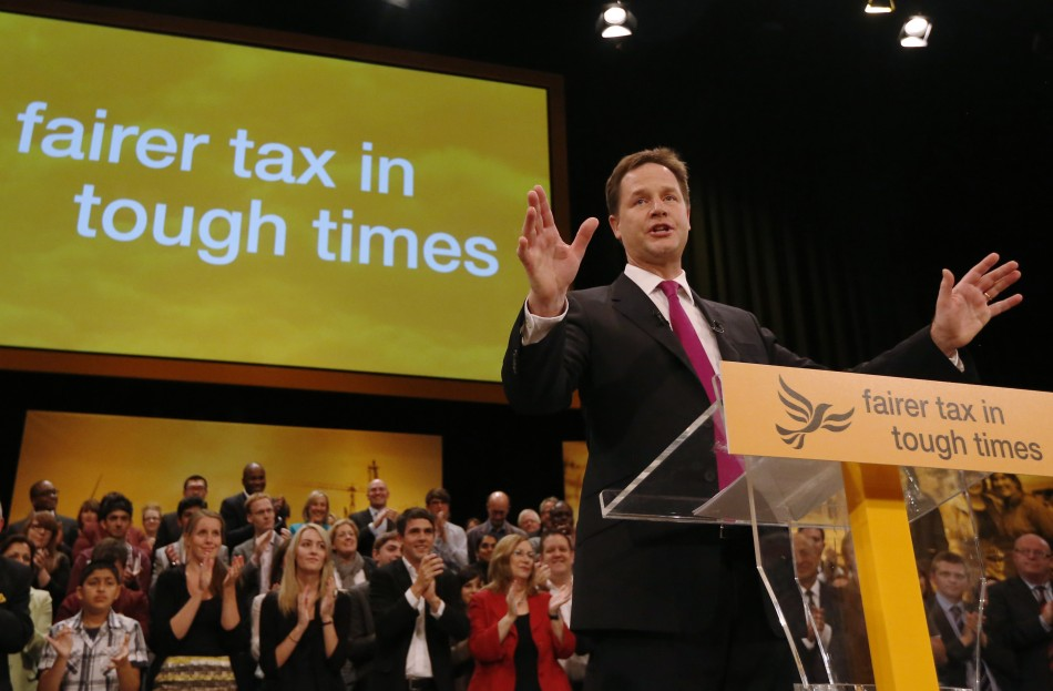 Nick Clegg makes his keynote speech at the close of the Liberal Democrats annual conference in Brighton (Reuters)