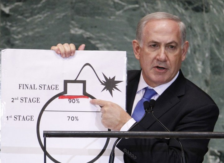 Benjamin Netanyahu and his crude bomb graphic used to illustrate a very serious message about Iran