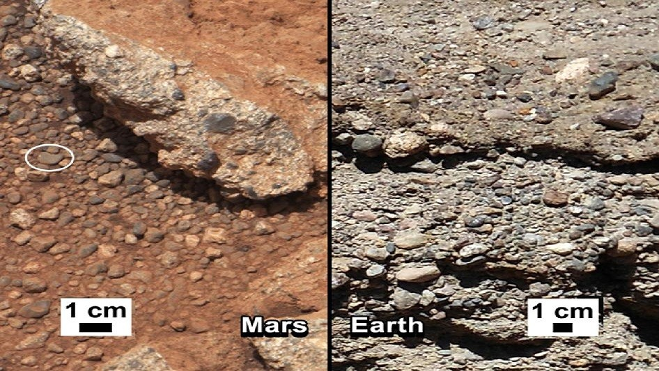 Comparison with gravelbed on earth, where intelligent life has been found in places