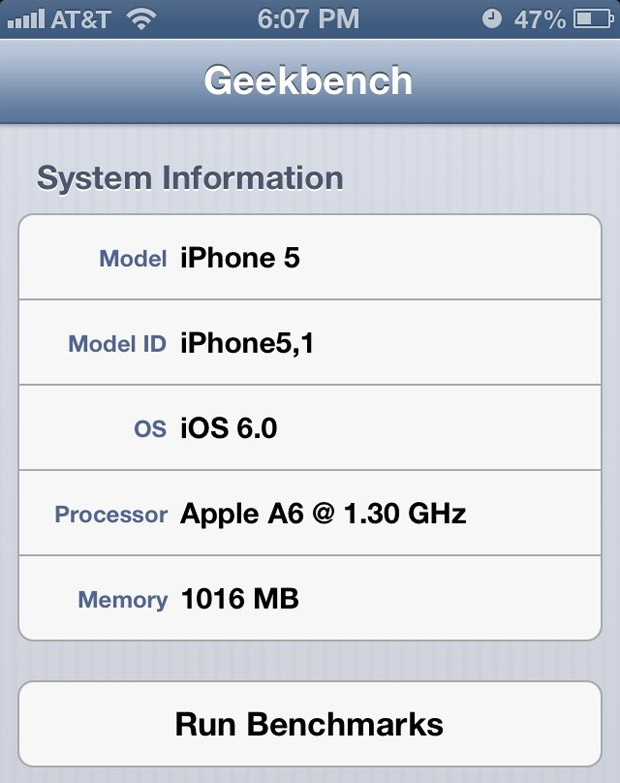 iPhone 5's Processor Clocked At 1.3GHz in Latest Benchmark