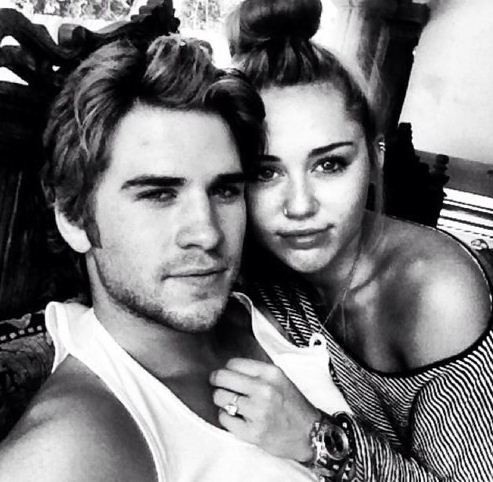 Miley Cyrus with fiance, Liam Hemsworth