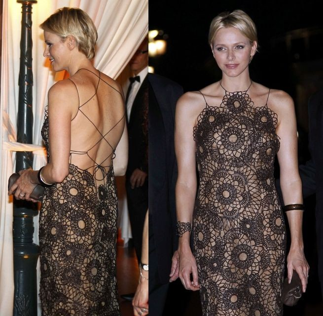 Princess Charlene Shines In Backless String Dress At South