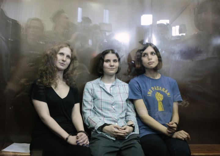 Members of the group Pussy Riot (L to R) Maria Alyokhina, Yekaterina Samutsevich and Nadezhda Tolokonnikova (Reuters)