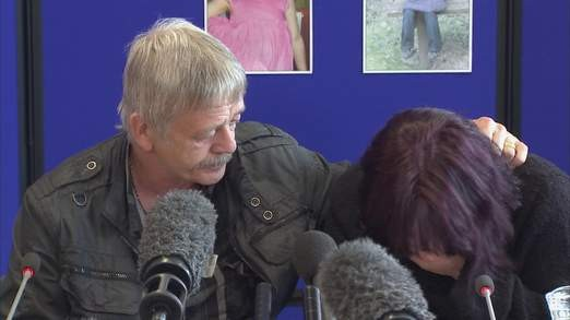 Coral Jones (L) broke down as she made the appeal alongside April's stepfather Dye Smith (Sky News)