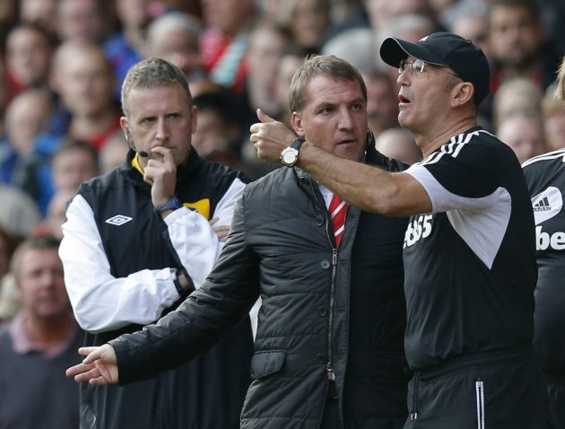 Brendan Rodgers (2nd L) and Tony Pulis