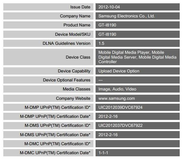 DLNA certification for Galaxy S3 Mini GT-I8190 Spotted