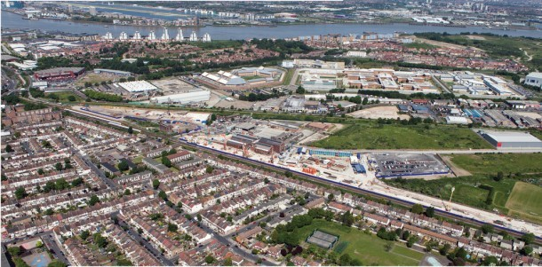 Plumstead's aerial view  looking north across the Thames, where Crossrail's tunnels under the river will be constructed. Archaeologists have found Bronze Age remains of a transport route at the site. (Photo: Crossrail Ltd)