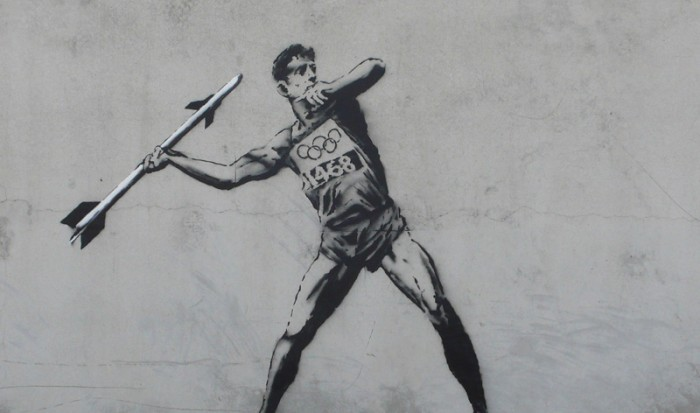 Street artist Banksy's commentary on the London Olympics 2012 (Photo: VNA)