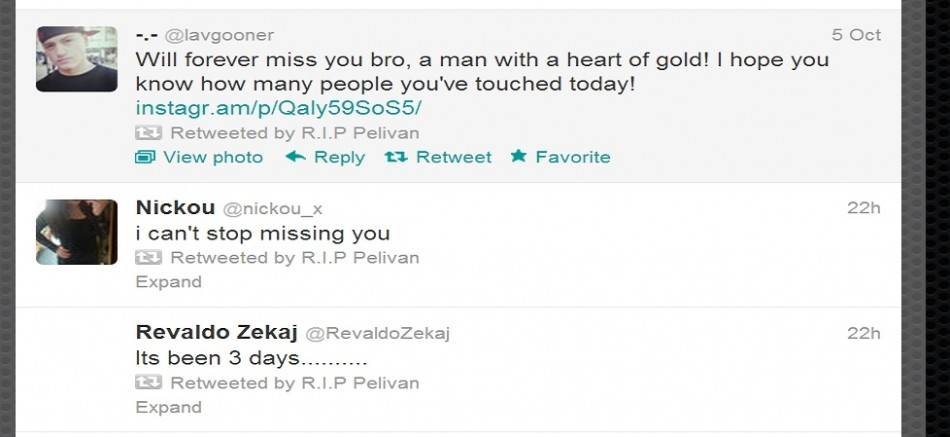 Twitter tribute to Pelivan Zekaj