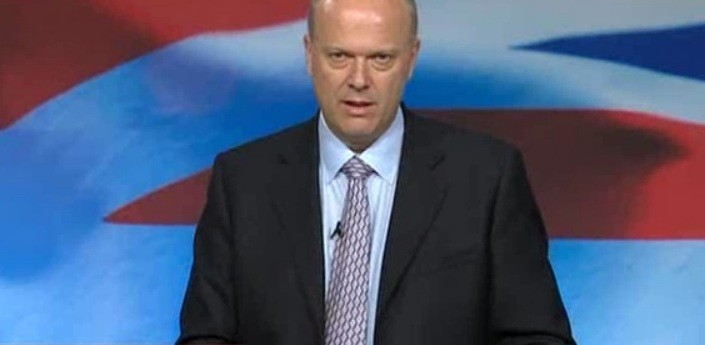 Michael Grayling at Conservative party conference in Birmingham (SkyNews)
