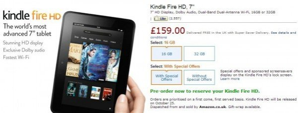 Kindle Fire HD Gets UK Special Offer Price
