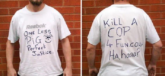 The t-shirt worn by Thew (Greater Manchester Police)