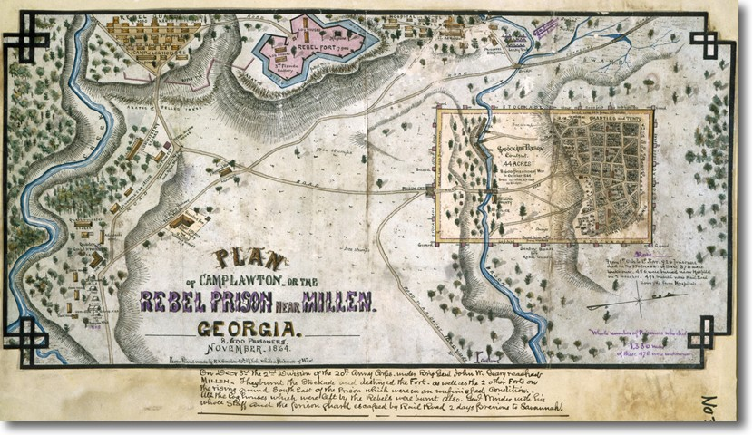 Map of Camp Lawton in 1864. The exact location of the camp have been lost to time but archaeologists now claim to have found remains of the camp in Millen, Georgia. (Photo: Virginia Historical Society/U.S. Fish and Wildlife Service)