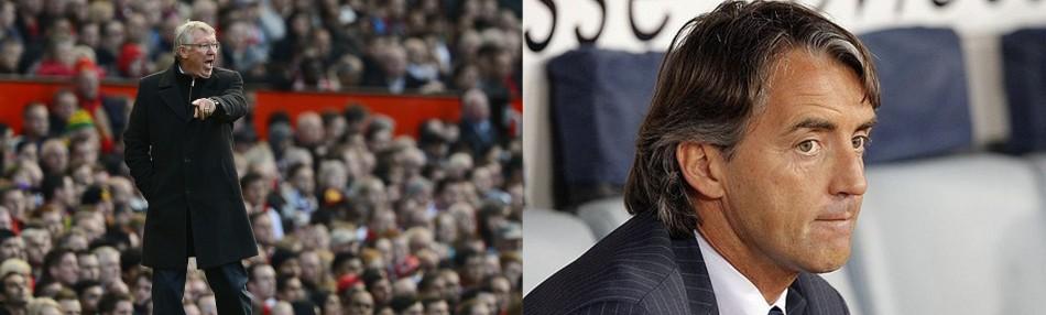 Sir Alex Ferguson (L) and Roberto Mancini