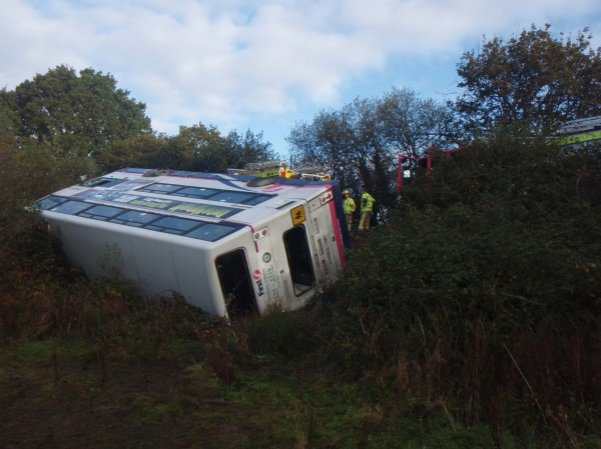 No one is thought to have sustained serious injury after the crash (Dorset Fire and Rescue Service)