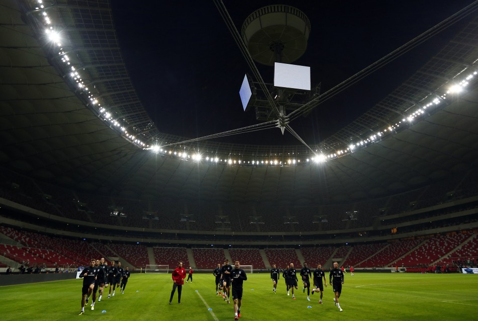 The England squad during a training session at the National Stadium in Warsaw